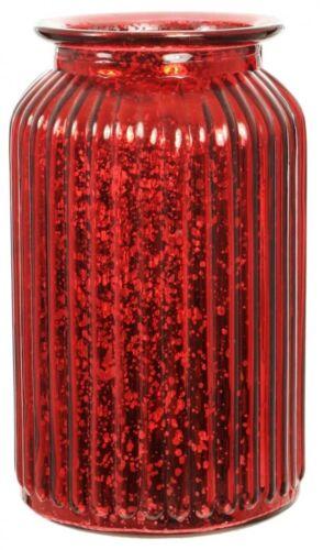Red Splatter Glass Flower Vase Wide Mouth Flower Vase Ribbed Metallic Design