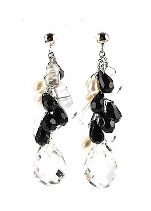Diana Venizia.  Sterling Crystal Onyx Faceted Dro… - image 2