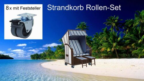 Feststeller spurfrei!!! 1 Satz Strandkorbrollen mit 8 Stück PU Räder ø 50mm