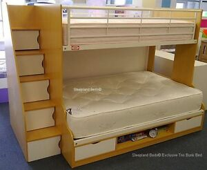 Beech white trio 3 sleeper new 3ft 4ft small double bunk for 3 bed bunk beds for sale