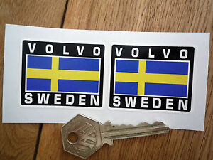 Image is loading VOLVO-SWEDEN-Flag-Style-Stickers-50mm-Pair-Swedish-