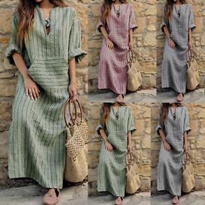 Plus-Size-Women-Kaftan-Striped-Dress-Cotton-Linen-Casual-Baggy-Long-Maxi-Dresses