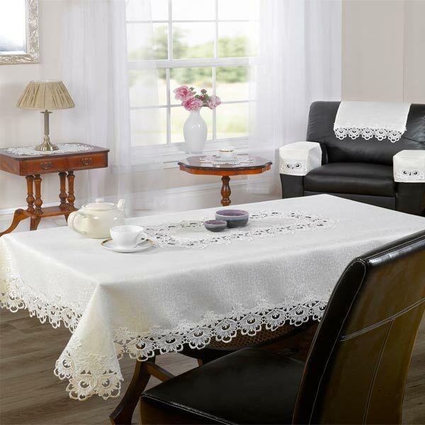 Emma Barclay Lucinda Lace Woven Tablecloth, Cream
