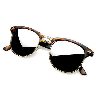 Semi Rimless Sunglasses Men's Women's Half Frame Vintage Designer Metal