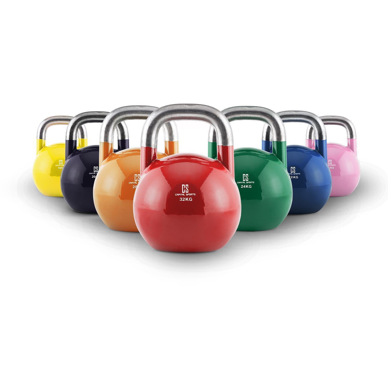 Set 7 Kettlebell Acciaio 8 - 32 Kg Training Esercizi Fitness Ghire Manubrio