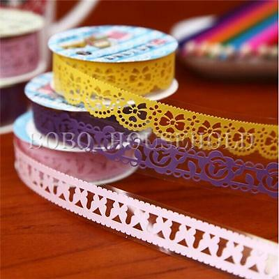 1/5/10 Roll DIY Washi Lace Paper Tape Masking Self Adhesive Sticky Decorative