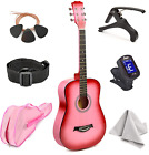 """Master-play Beginner Wood Acoustic Guitar 38"""" For Boys/Girls/Teens With Accesso"""
