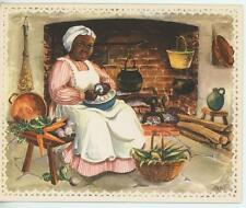 VINTAGE GIRL COOK CARROT CORN SHORT'NIN BREAD HAM RECIPE  PRINT TROUT FISH CARD