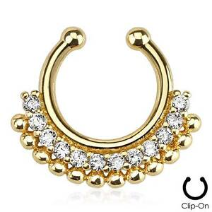 83b198a278d Details about Gold IP Tribal Fan Clip On Fake Septum Clicker Non Piercing  Nose Ring Hoop Clear