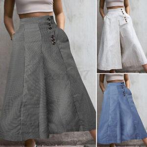 Royaume-Uni-Pour-Femme-elastique-taille-haute-Palazzo-Pantalon-jupe-culotte-Flare-Wide-Leg-Pants-8