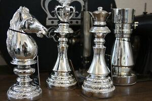 Deko-Figur-Schachfigur-23cm-Silber-Poly-Koenig-Dame-Turm-Pferd-Dekofiguren
