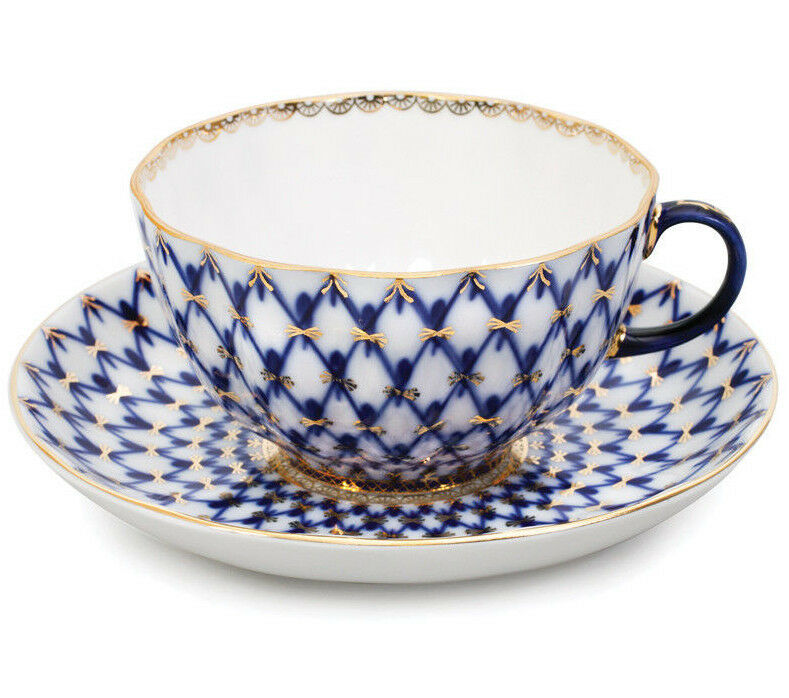 8.5 fl oz Imperial Porcelain Teacup and Saucer Classic Cobalt Net Lomonosov