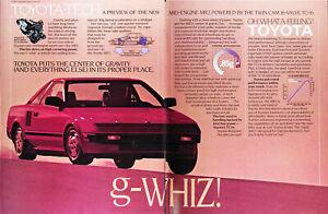 1985 TOYOTA MR2 Genuine Vintage Ad ~ Twin Cam 16 Valve TC-16~ FREE SHIPPING!