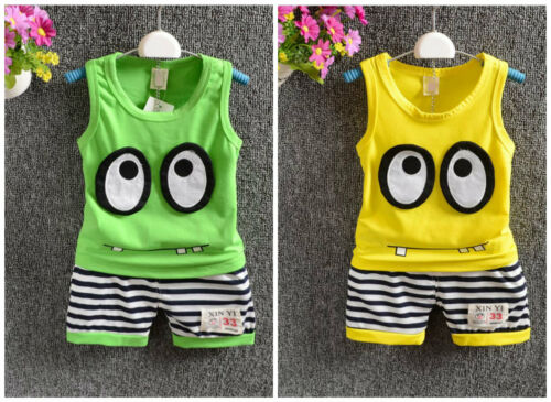 2pc Baby clothes Toddler kids boys cotton summer sleeveless vest+short pants