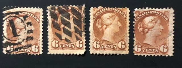 CANADA 1872 # 39 QUEEN VICTORIA - SMALL QUEEN 6c YELLOW BROWN  SHADES USED x 4