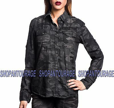 Affliction Freedom 111WV138 Women`s New Black Long Sleeve Button-Down Shirt