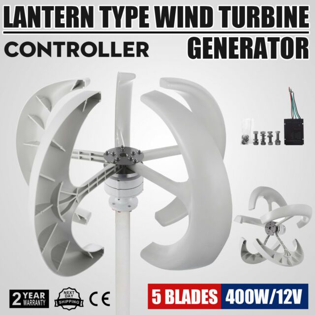 400W 12V White Lanterns Wind Turbine Generator Home power Vertical Axis  ISO9001