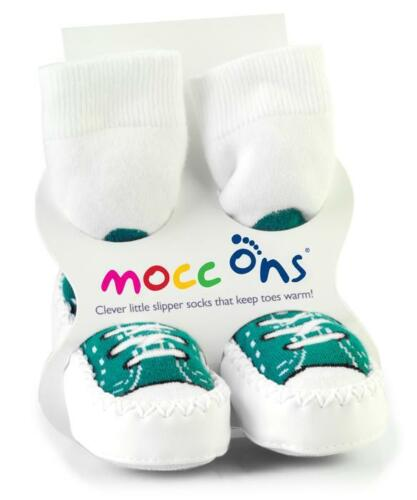 Babies Mocc Ons Baby Slipper Moccasin 6-12m Turquoise Sneaker