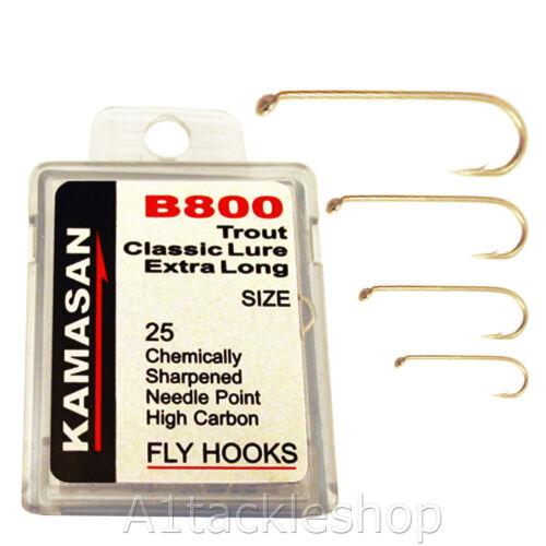 Choose Size Kamasan B800 Classic Trout Lure Fly Tying Hooks Extra Long Shank