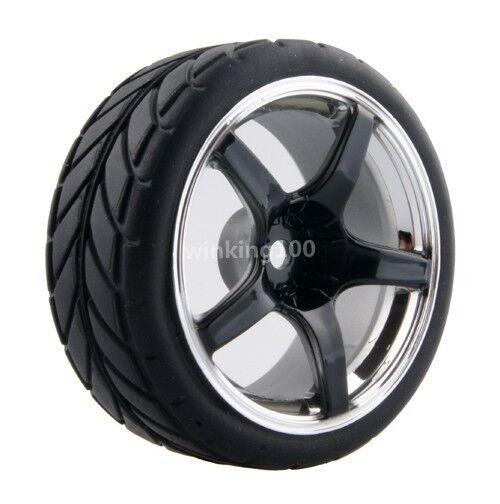 RC HSP HPI 1:10 On-Road Car Plastic Wheel Rim Offset:6mm Rubber Tires 2061-6086