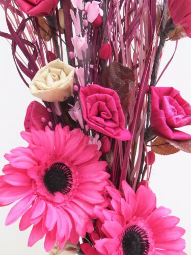 CREAM /& PINK Flower Display 90 cm tall in clear glass vase 30 cm tall