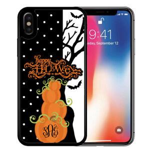 Monogram-Halloween-Case-for-iPhone-11-Pro-Xr-Xs-Max-X-8-7-Pumpkins-Polka-Dot