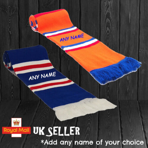 Rangers Personalised Embroidered Scarf Kids Mens Ladies Gift Football Soccer