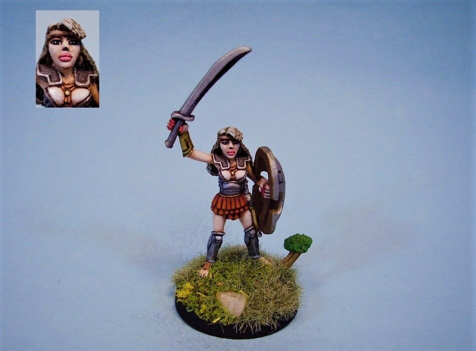 Ral partha painted miniature female warrior with shield
