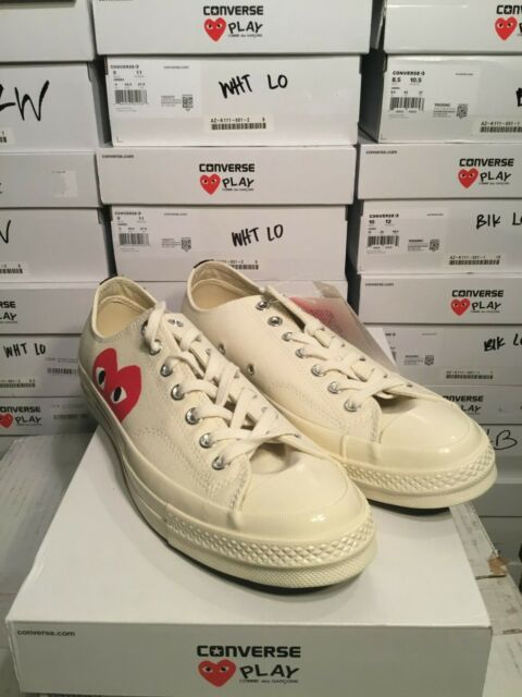 CDG PLAY X Converse First String 1970s Low Leathers Shoes White Free Shipping