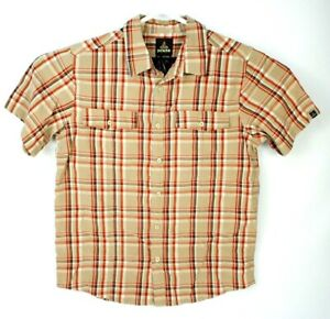 prAna-Organic-Cotton-Bend-Short-Sleeve-Button-Up-Plaid-Hiking-Shirt-Mens-Large-L