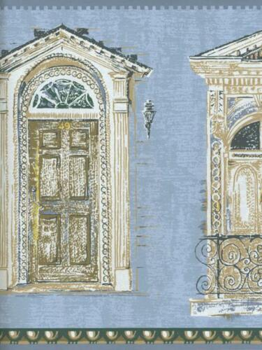 VICTORIAN ARCHITECTURAL DOORS ON LIGHT BLUE WALLPAPER BORDER