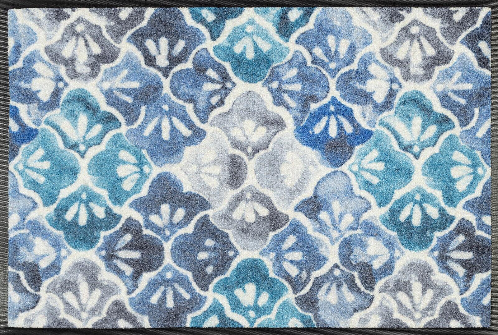 Wash+dry Fußmatte Fußmatte Fußmatte Blau Ground waschbare Schmutzmatte Küchenläufer Fliesenoptik b569bb