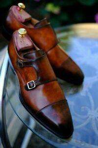 Homme-Fait-a-la-main-Chaussures-deux-Moine-Bracelet-en-Cuir-Marron-formel-robe-Oxford-Casual-Boot