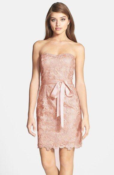 ADRIANNA PAPELL STRAPLESS LACE OVERLAY SHEATH DRESS sz 10