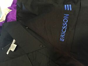 02a5e87f1 Image is loading Ericsson-black-long-sleeve-button-down-shirt-adult-