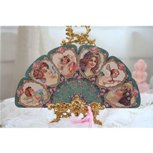 Ladies Lolita Hand Fan Tassel Folding Paper Flower Victorian Retro Angel Retro