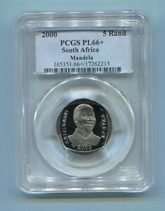 PCGS-Proof-PL-66-Rare-Grade-South-Africa-Nelson-Mandela-R5-Year-2000-Coin