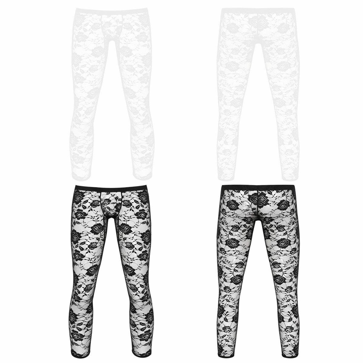 Mens Sissy Floral Lace Sheer Mesh Long Pants Leggings Low Rise Semi See Through Transparent Long Johns Tights