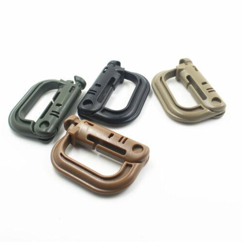 1pcs//5pcs Tactical MOLLE D-Ring Locking Buckle Plastic Carabiner Belt Clip