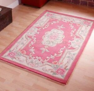 Image Is Loading Traditional Chinese Aubusson Rugs Pink Wool 120x180cm Handmade