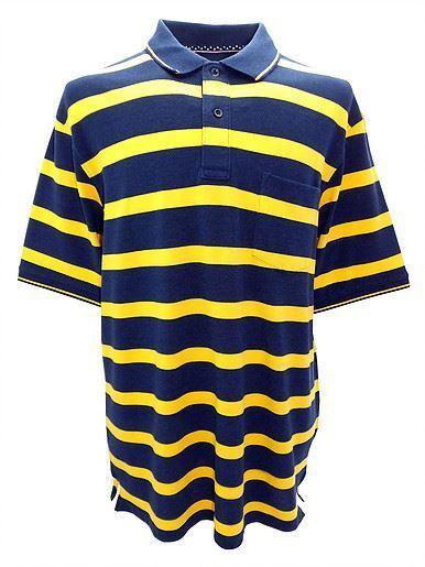 Louie James baumwollreich baumwollreich baumwollreich Pique Polohemd in marine blau gelb Größen | Exquisite (mittlere) Verarbeitung  b50917