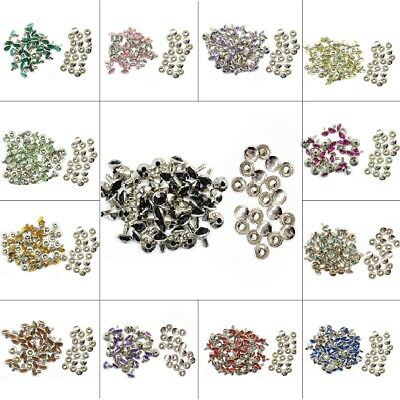 Pack of 50 Perfect for Belts Bags or Dog Collars Trimming Shop 8mm Diamante Rivet Studs for Leather Crafts with Black Coloured Acrylic Rhinestones