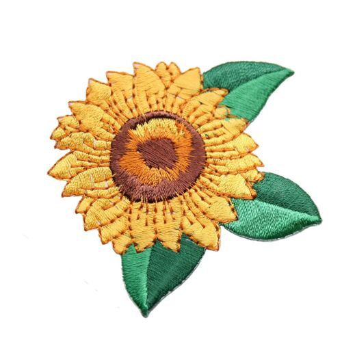 New Yellow Green Helianthus Sunflower embroidered Iron On Sew on Applique Patch