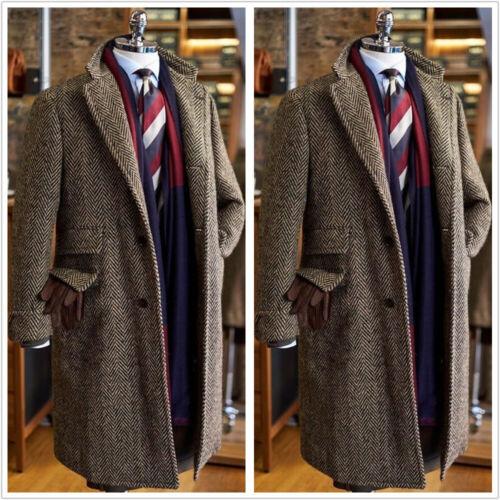 Brown Herringbone Men/'s Coat Blazer Long Vintage Formal Business Groom Tailored