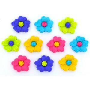 Dress It Up Buttons *BUTTON FUN* 10 Pieces Bright Flowers Curls Craft Sewing