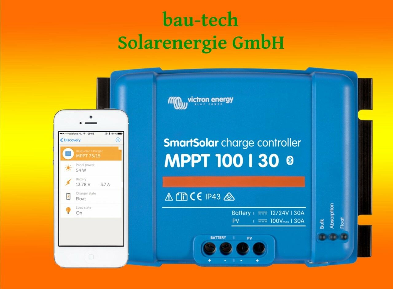 Victron Smartsolar MPPT Laderegler 100/30 30Amper 12 oder 24V inklusiv Blautooth