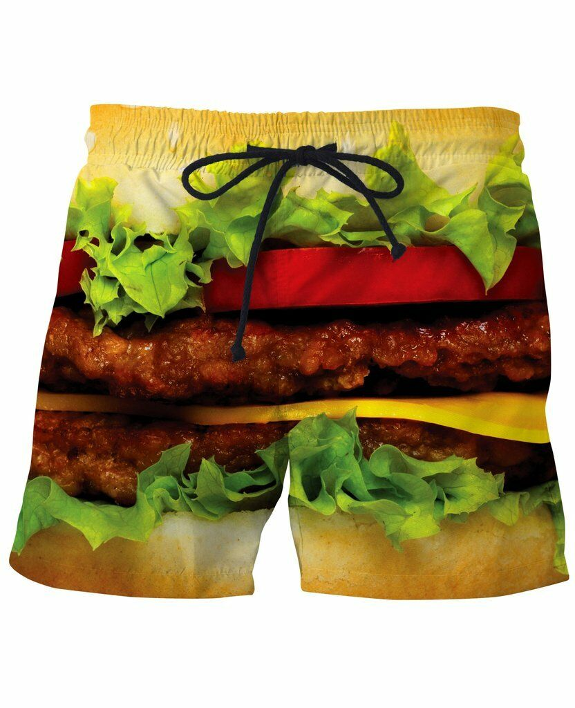 Burger Swim Trunks beach Surf shorts Polo Swimming Wear NWT