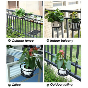 2x Retro Flower Pot Hanging Balcony Garden Fence Metal Plant Iron Planter Bucket
