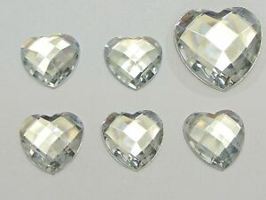 100-Clear-Acrylic-Faceted-Heart-Flatback-Rhinestone-Gems-Beads-16X16mm-No-Hole