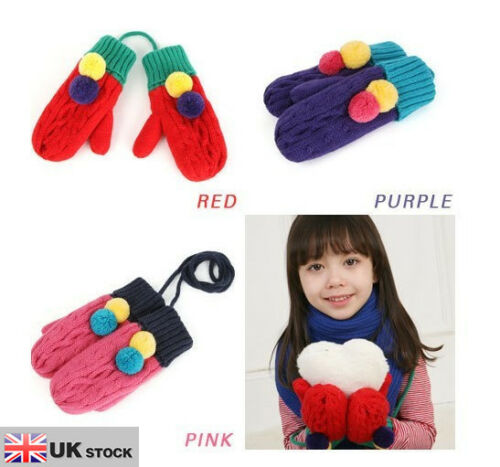 Fashion Dual Colours Hand Knitted Mitten With Double Balls UK SELLER